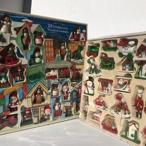 Two Boxes Vintage Wood Christmas Ornaments